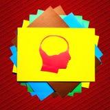 Rött pappers- mänskligt huvud med ihåligt utrymme Fotografering för Bildbyråer