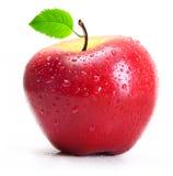 Rött äpple med vattendroppar  Fotografering för Bildbyråer