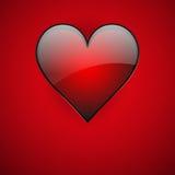 Rött realistiskt kort för hjärtavalentindag Arkivfoto
