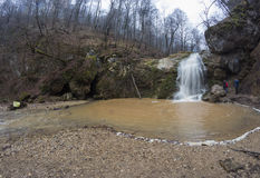 Ruído Rufabgo da cachoeira, natureza Cáucaso Foto de Stock Royalty Free
