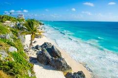 Ruína de Tulum - praia em Penisula Iucatão em México Fotos de Stock