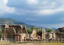 Ruínas antigas antigas da casa de campo Adriana, Tivoli Roma Imagem de Stock