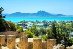 Ruínas antigas da paisagem de Carthage e de beira-mar Tunes, Tunísia, Fotografia de Stock