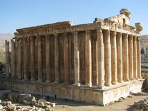 Ruínas antigas em Baalbeck, Líbano imagem de stock