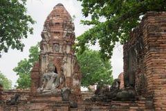 Ruínas antigas velhas com o um buddha meditando e as outras cabeças fora Imagem de Stock Royalty Free