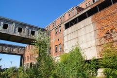 Ruínas cobertos de vegetação da fábrica velha Foto de Stock