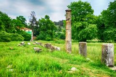 Ruínas da ágora antiga em Thassos, Limenas, Grécia Foto de Stock Royalty Free