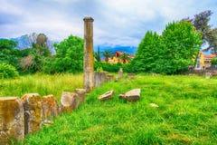 Ruínas da ágora antiga em Thassos, Limenas, Grécia Imagens de Stock