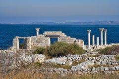 Ruínas da basílica do grego clássico em Khersones Fotos de Stock Royalty Free