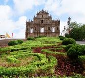 Ruínas da catedral de Paul de Saint em Macau foto de stock royalty free