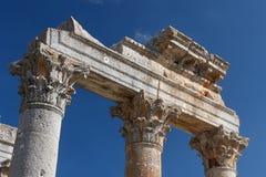 Ruínas da cidade antiga Diokaisareia na vila de Uzuncaburc Foto de Stock Royalty Free