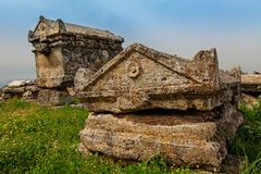 Ruínas da cidade antiga, Hierapolis perto de Pamukkale, Turquia Fotografia de Stock Royalty Free