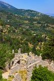 Ruínas da cidade velha em Mystras, Greece Fotos de Stock Royalty Free