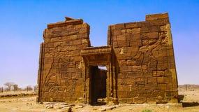 Ruínas da civilização de Kush do templo de Apademak, Naqa, Meroe Sudão Imagem de Stock