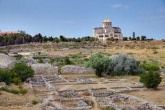 Ruínas da colônia Khersones do grego clássico Imagens de Stock Royalty Free