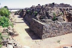 Ruínas da fortaleza do século XII do Hospitallers - o Belvoir - o Jordan Star - em Jordan Star National Park perto da cidade de A imagens de stock royalty free
