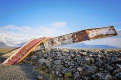 Ruínas da ponte Islândia de Gigjukvisl Fotos de Stock Royalty Free