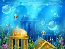 Ruínas de Atlantis - tela da ilustração do fundo do vetor ilustração royalty free
