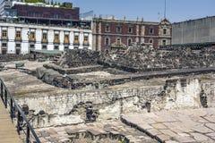 Ruínas de Aztec do prefeito de Templo em Cidade do México do centro, México imagens de stock