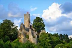 Ruínas de Frydstejn do castelo no paraíso boêmio Fotografia de Stock