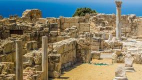 Ruínas de Kourion antigo Distrito de Limassol Chipre, o 6 de agosto de 2017 fotos de stock royalty free