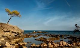 Ruínas de Phaselis portuário antic, Turquia Fotografia de Stock