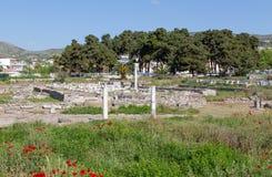 Ruínas de Phthiotic Thebes em Nea Anchialos, Thessaly, Grécia Fotos de Stock