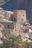 Ruínas de Riwaygh como-Safil perto dos logros de Jebel, Omã imagem de stock