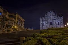 Ruínas de St Paul Church na noite em Macau Fotografia de Stock Royalty Free