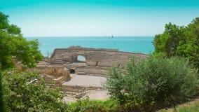 Ruínas do anfiteatro em Tarragona, Costa Daurada, Catalonia, Espanha filme
