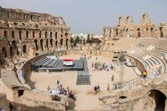 Ruínas do anfiteatro o maior no Norte de África, EL Jem, Tunísia fotografia de stock
