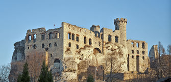 Ruínas do castelo em Ogrodzieniec, Poland fotografia de stock royalty free