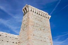 Ruínas do castelo medieval velho tijolo fortificado da parede e do detalhe da torre imagem de stock