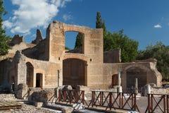 Ruínas do complexo antigo de Hadrian Villa, Tivoli fotos de stock royalty free