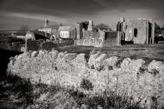 Ruínas do convento em Lindisfarne na ilha santamente em Northumberland Imagens de Stock