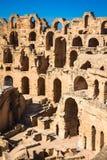 Ruínas do EL Jem Coliseum no gladiador de combate de Tunísia Fotos de Stock Royalty Free