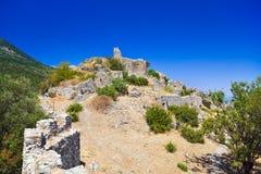 Ruínas do forte velho em Mystras, Greece Foto de Stock Royalty Free