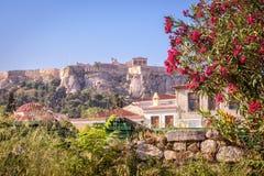 Ruínas do grego clássico com as flores que negligenciam a acrópole, Athe imagens de stock