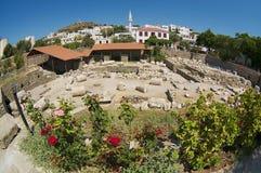 Ruínas do mausoléu de Mausolus, uma das sete maravilhas do mundo antigo em Bodrum, Turquia fotografia de stock