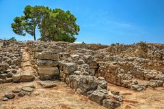 Ruínas do palácio de Phaistos na Creta, Grécia Imagem de Stock Royalty Free