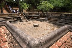 Ruínas do palácio de Polonnaruwa em Sri Lanka Fotos de Stock