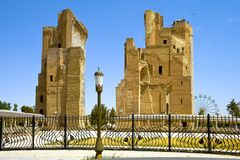 Ruínas do palácio de Timur, Aksaray, em Shakhrisabz, Usbequistão Fotografia de Stock