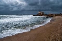 Ruínas do porto em Caesarea Fotografia de Stock