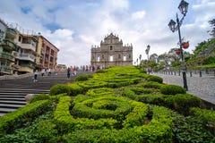 Ruínas do ` s de St Paul, centro histórico de Macau fotos de stock