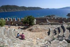 Ruínas do teatro antigo em Simena em Turquia Foto de Stock