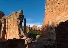Ruínas do teatro antigo em Taormina, Sicília, AIE Fotos de Stock