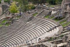 Ruínas do teatro romano em Lyon, France Fotografia de Stock Royalty Free