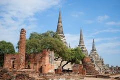 Ruínas do templo budista antigo de Wat Phra Si Sanphet em uma tarde ensolarada Ayutthaya tailândia Imagens de Stock Royalty Free