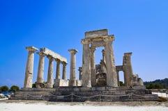 Ruínas do templo na ilha Aegina, Grécia Foto de Stock Royalty Free