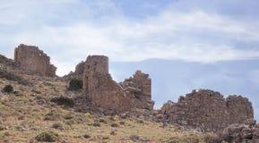 Ruínas dos moinhos de vento Venetian antigos construídos no século XV, platô de Lassithi, Creta, Grécia Fotos de Stock Royalty Free